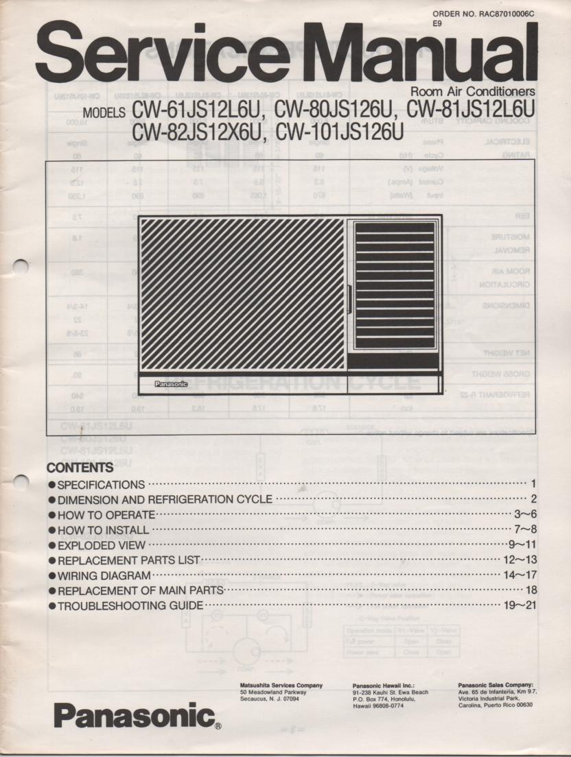 CW-101JS126U Air Conditioner Service Manual