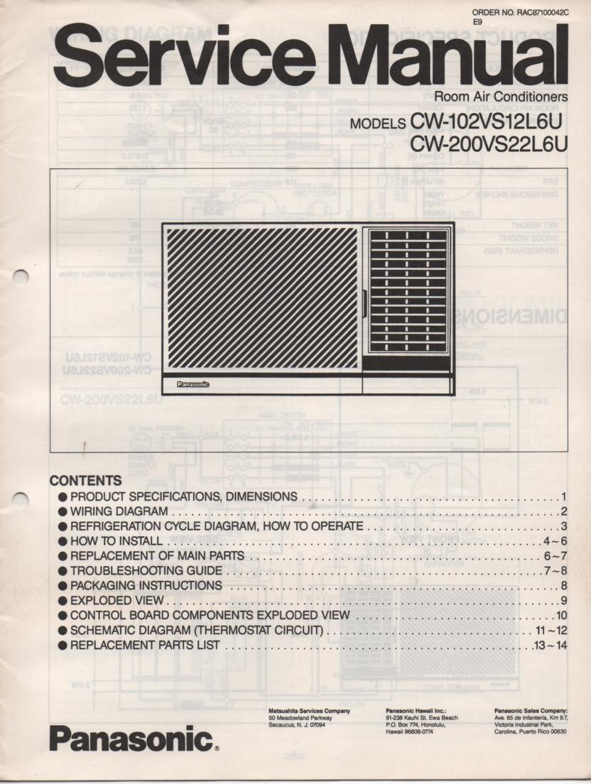 CW-102VS12L6U CW-200VS22L6U Air Conditioner Service Manual
