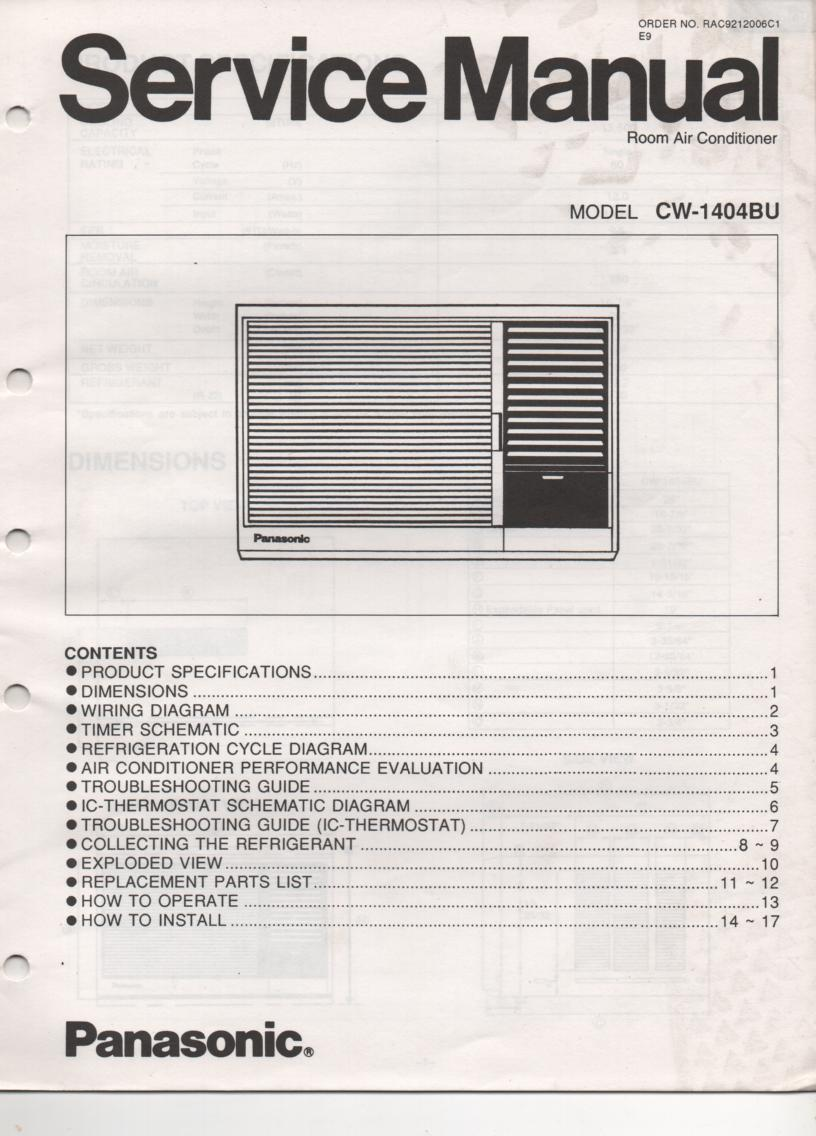 CW-1404BU Air Conditioner Service Manual