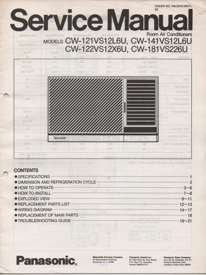 CW-141VS12L6U CW-121VS12L6U CW-181VS12L6U Air Conditioner Service Manual