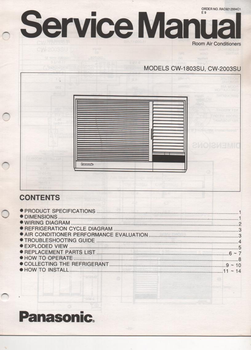 CW-1803SU CW-2003SU Air Conditioner Service Manual