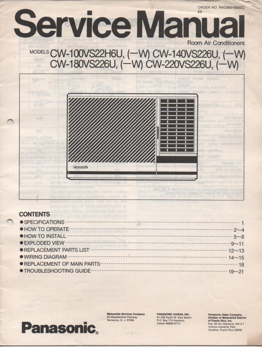 CW-180VS226 CW-100VS22H6U Air Conditioner Service Manual