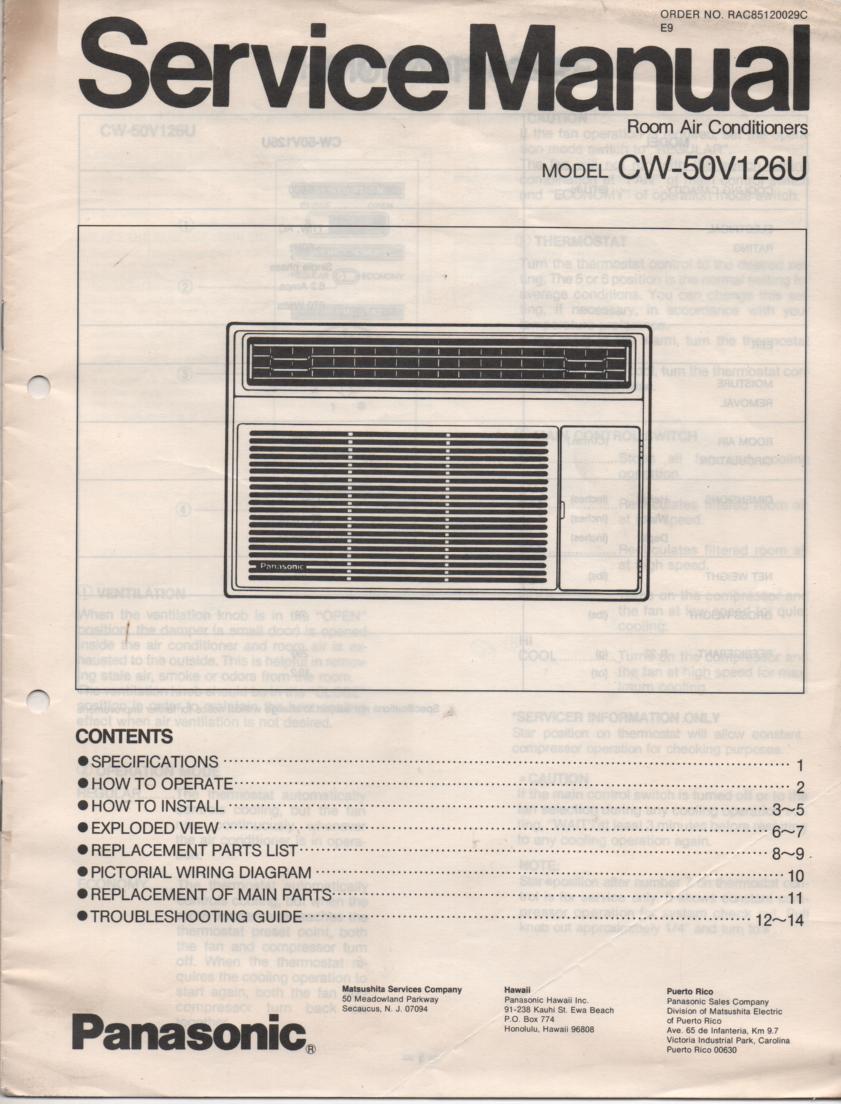 CW-50V126U Air Conditioner Service Manual