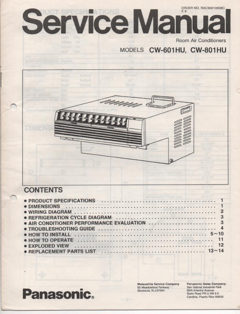 CW-601HU CW-801HU Air Conditioner Service Manual