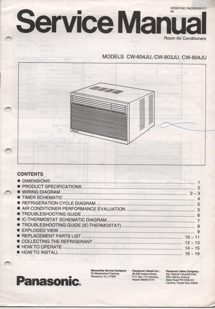 CW-604JU CW-803JU CW-804JU Air Conditioner Service Manual