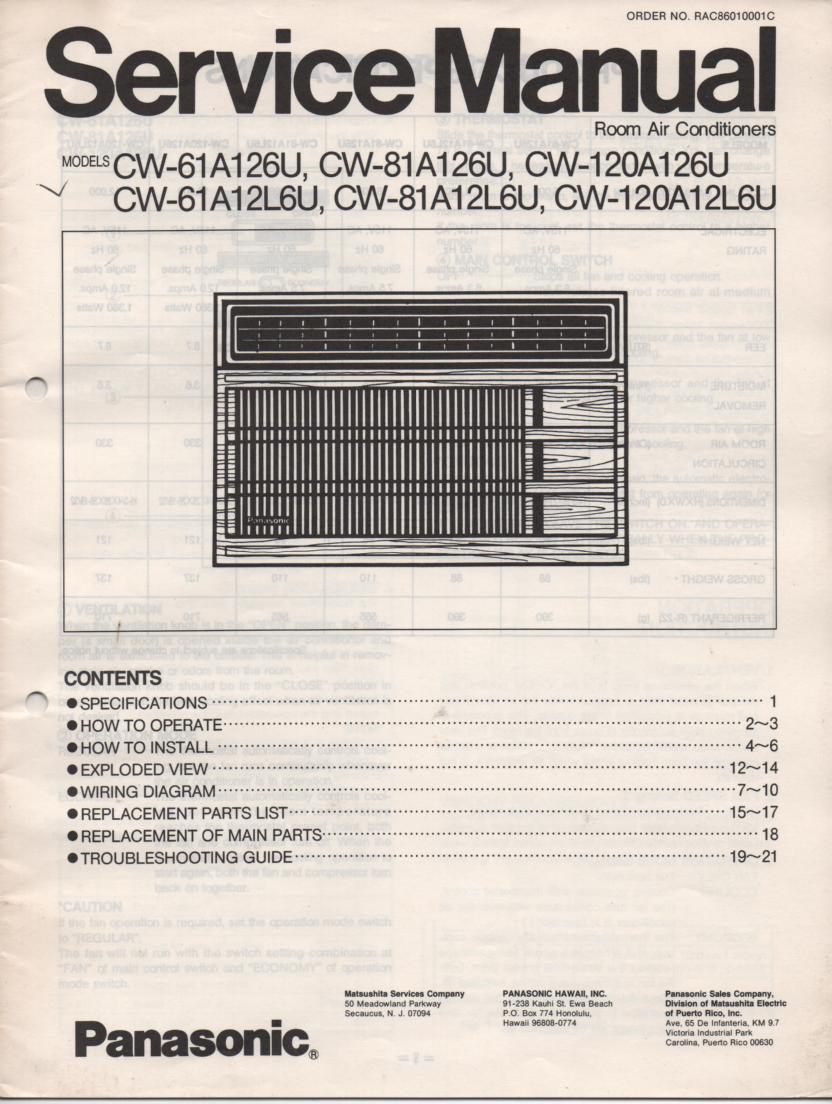 CW-61A12L6U CW-61A126U Air Conditioner Service Manual