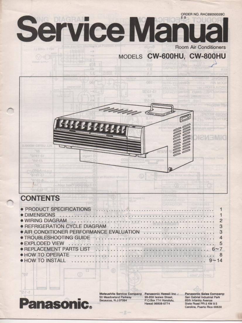 CW-800HU CW-600HU Air Conditioner Service Manual