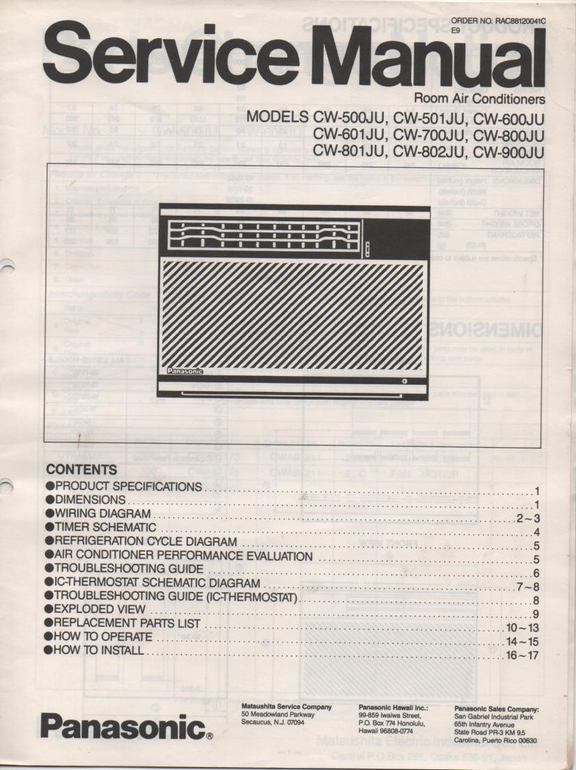 CW-800JU CW-801JU CW-802JU Air Conditioner Service Manual