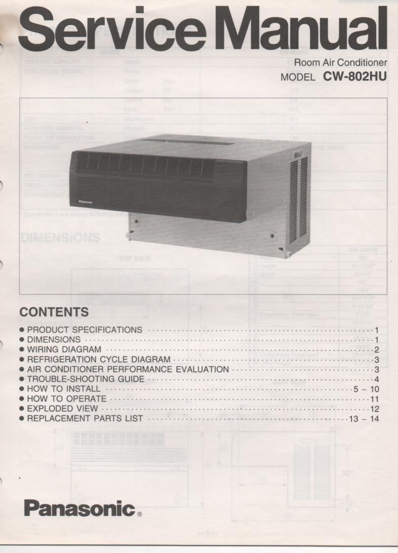 CW-802HU Air Conditioner Service Manual