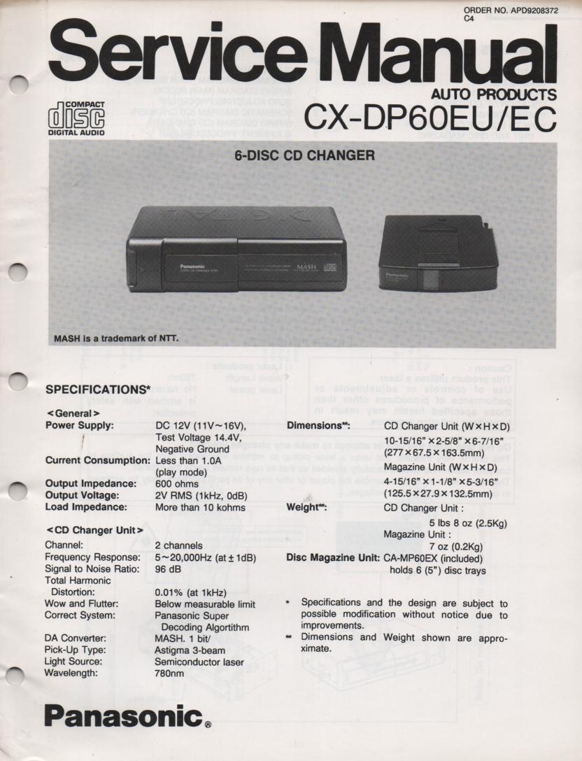 CX-DP60EU CX-DP60EC 6 Disc CD Player Service Manual