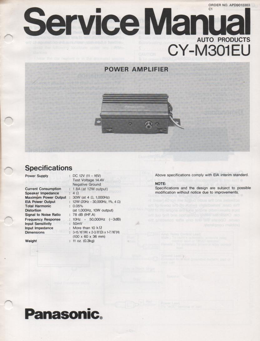 CY-M301EU Power Amplifier Service Manual