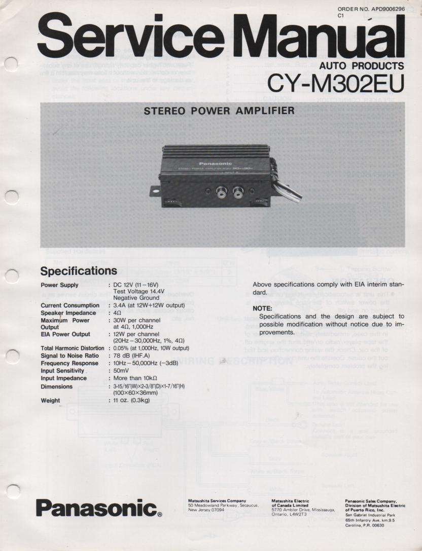 CY-M302EU Power Amplifier Service Manual