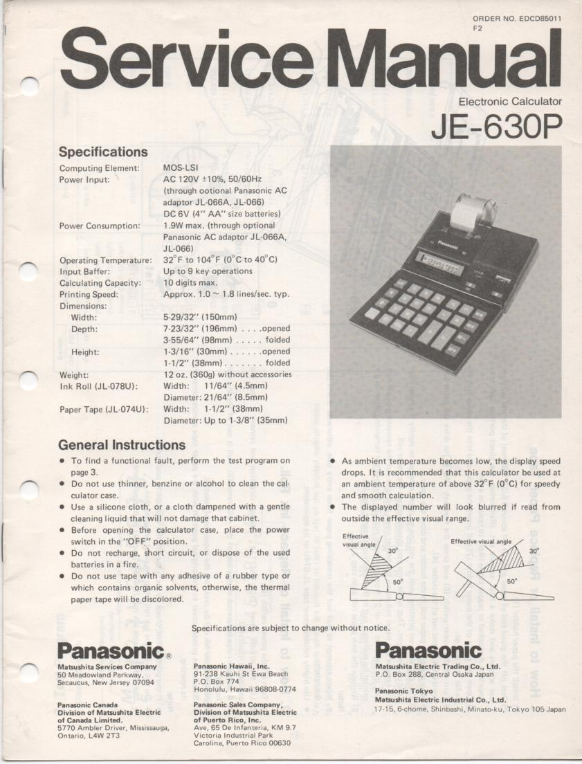 JE-630P Calculator Service Manual. Also contains paper roll and ink cartridge replacement instructions.