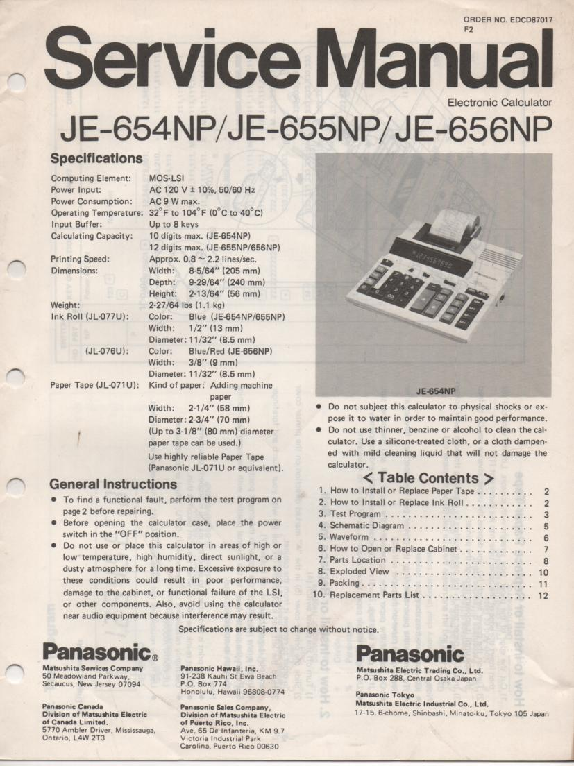 JE-654NP JE-655NP JE-656NP Calculator Service Manual. Also contains paper roll and ink cartridge replacement instructions.