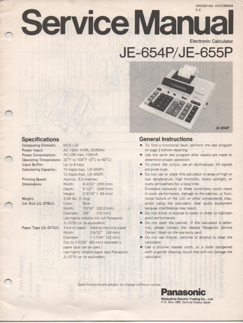 JE-654P JE-655P Calculator Service Manual. Also contains paper roll and ink cartridge replacement instructions.