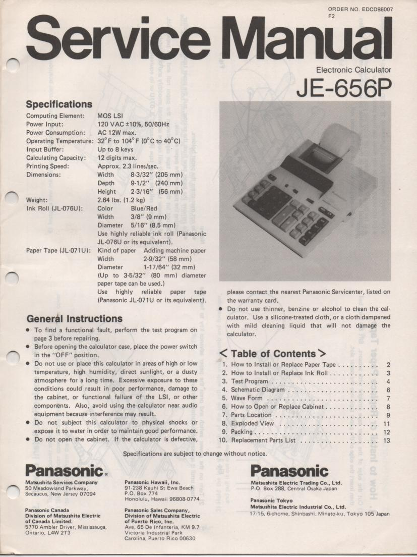 JE-656P Calculator Service Manual. Also contains paper roll and ink cartridge replacement instructions.