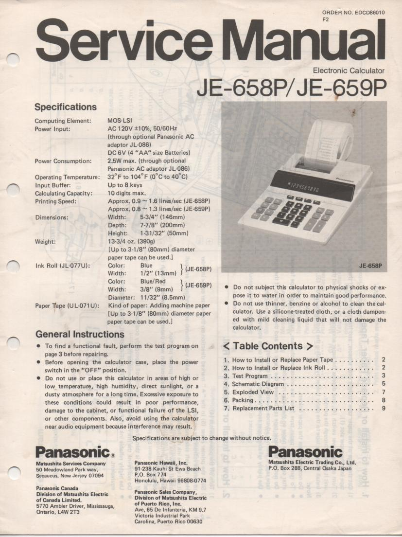 JE-658P JE-659P Calculator Service Manual. Also contains paper roll and ink cartridge replacement instructions.