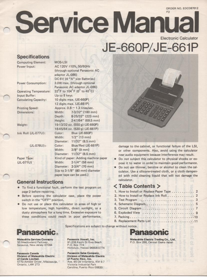 JE-660P JE-661P Calculator Service Manual. Also contains paper roll and ink cartridge replacement instructions.