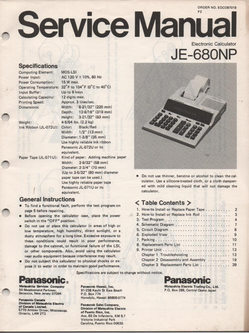 JE-680NP Calculator Service Manual. Also contains paper roll and ink cartridge replacement instructions.