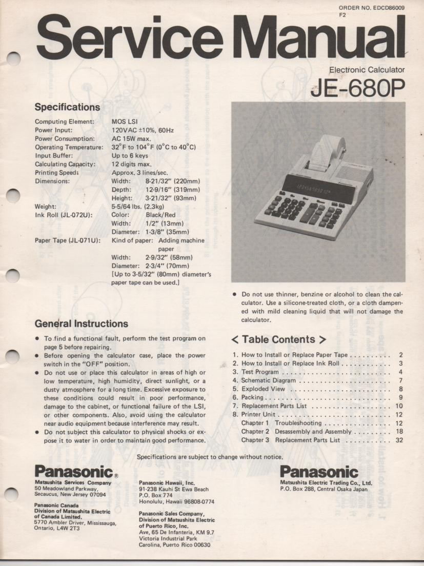 JE-680P Calculator Service Manual. Also contains paper roll and ink cartridge replacement instructions.