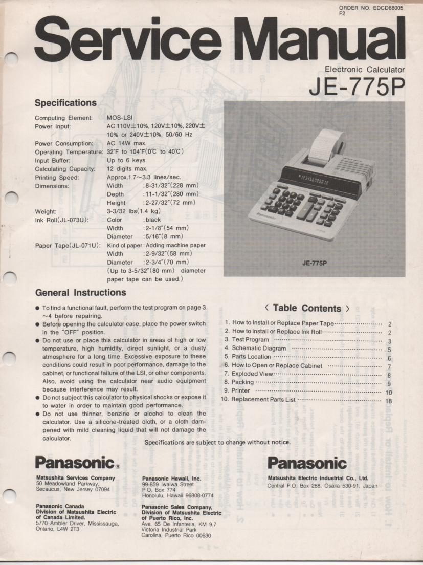 JE-775P Calculator Service Manual. Also contains paper roll and ink cartridge replacement instructions.