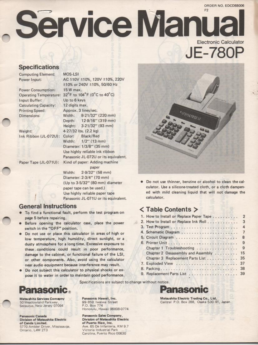 JE-780P Calculator Service Manual. Also contains paper roll and ink cartridge replacement instructions.