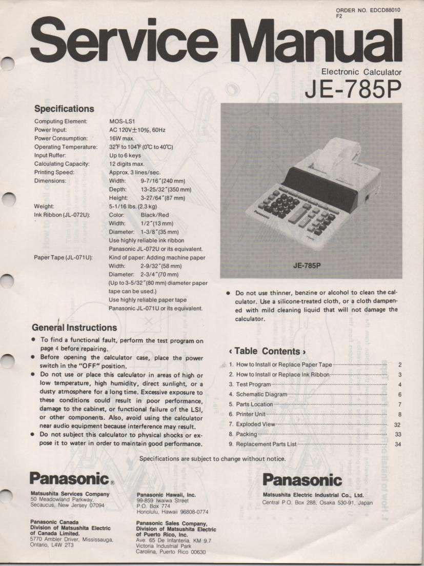 JE-785P Calculator Service Manual. Also contains paper roll and ink cartridge replacement instructions.