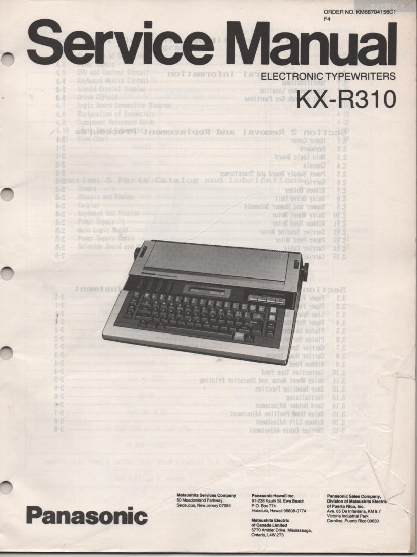 KXR310 Typewriter Service Manual