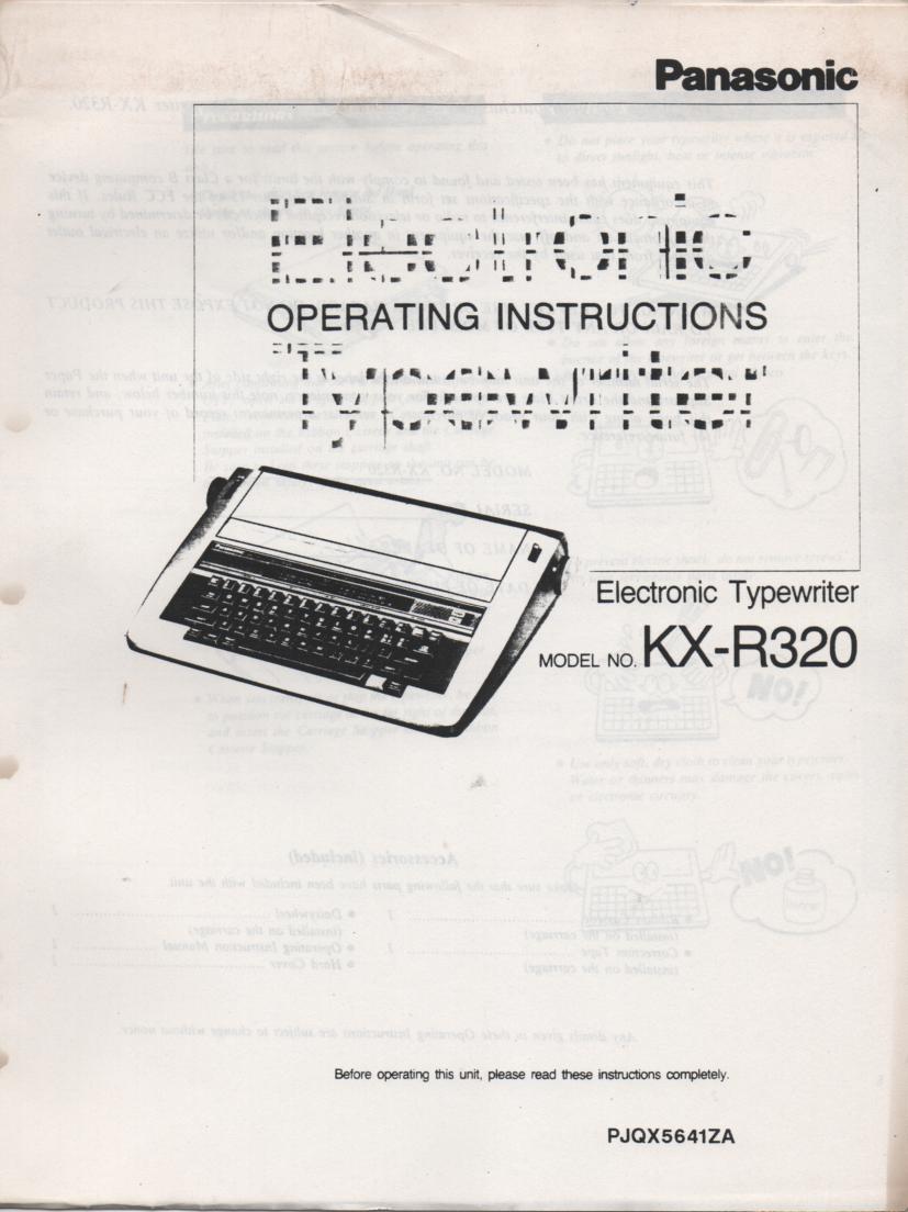KXR320 Typewriter Owners Manual