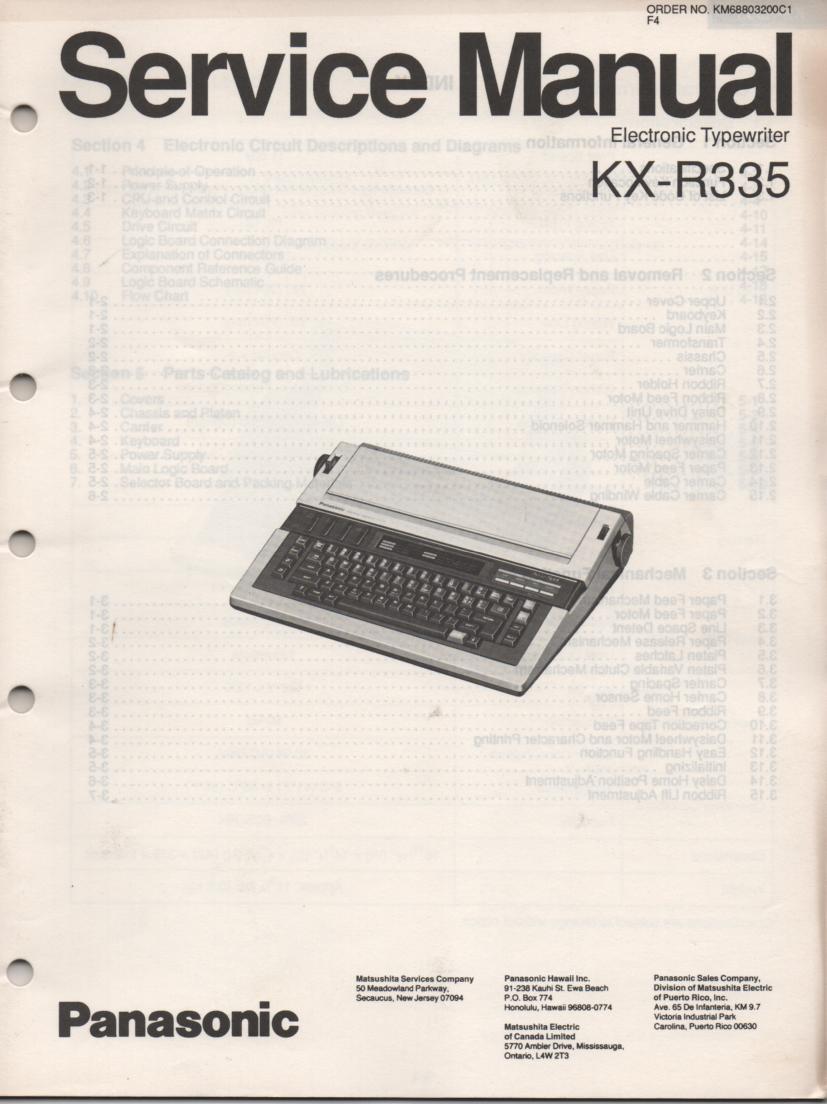 KXR335 Typewriter Service Manual