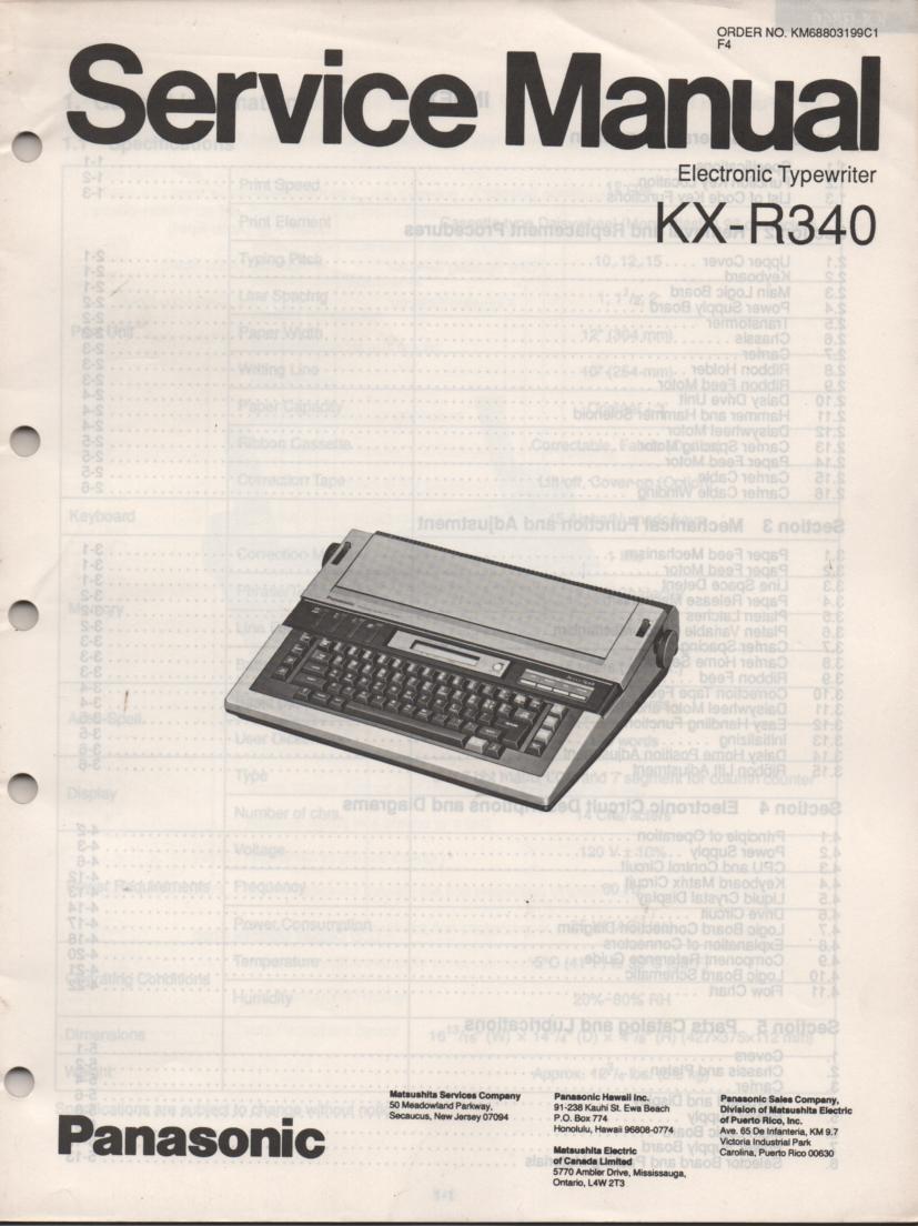 KXR340 Typewriter Service Manual