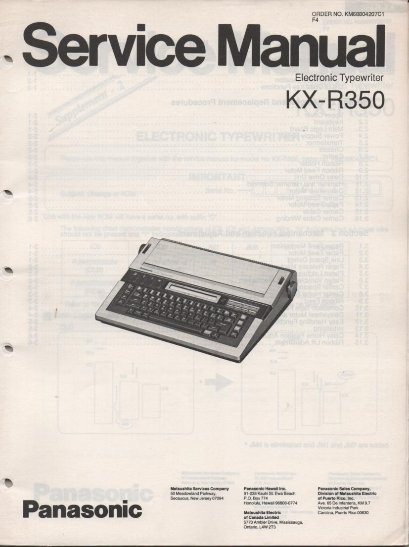 KXR350 Typewriter Service Manual