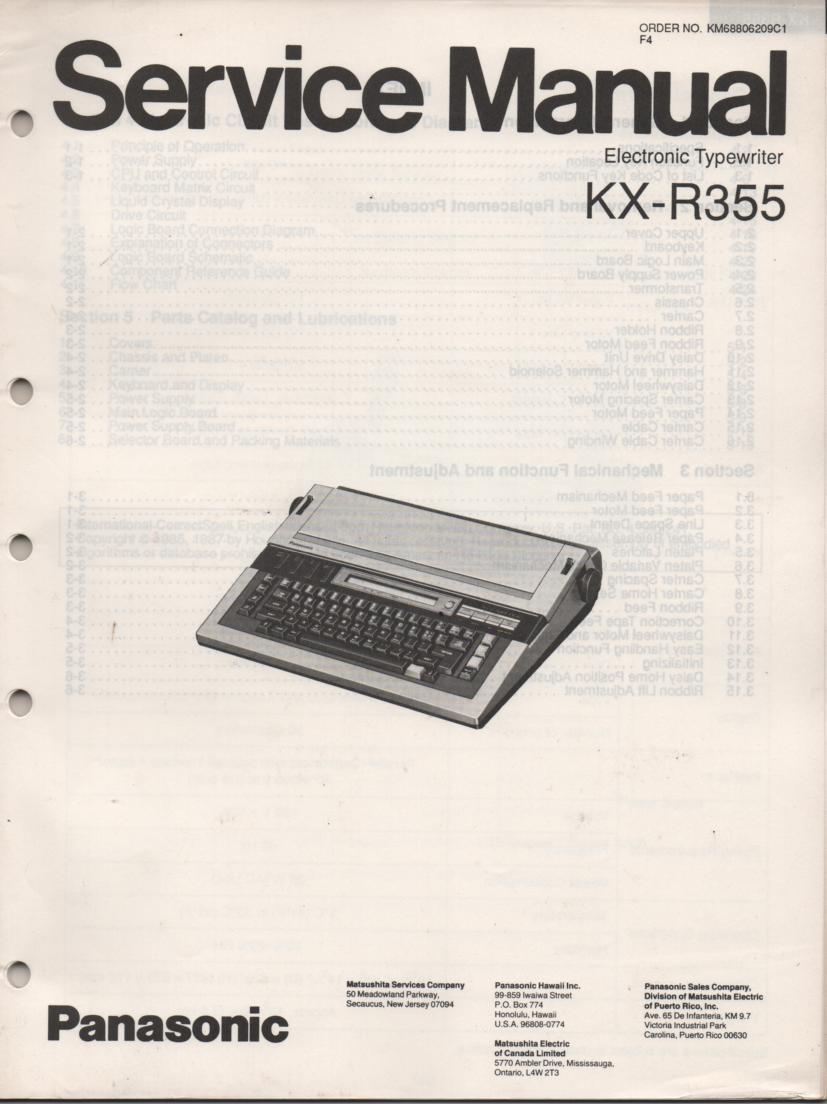 KXR355 Typewriter Service Manual