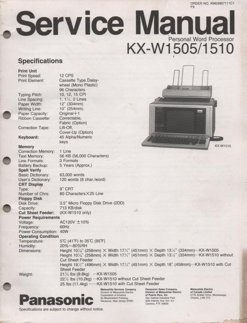 KXW1505 KXW1510 Personal Word Processor Service Manual