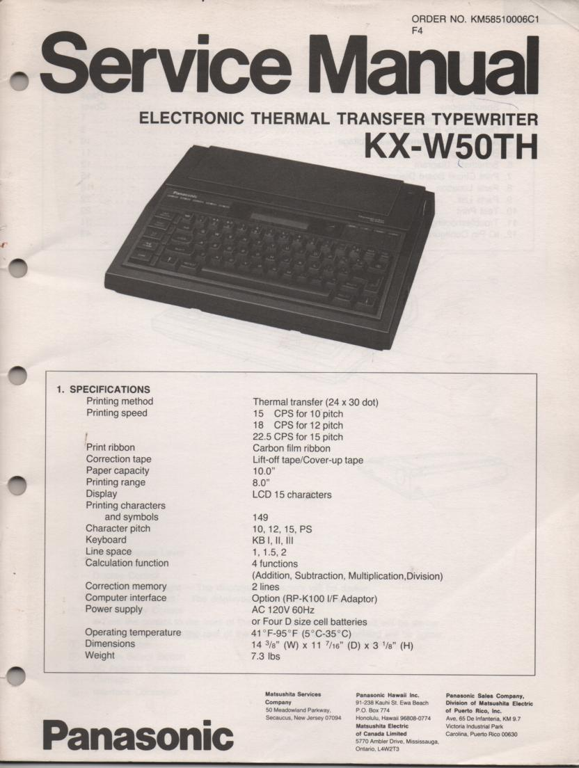 KXW50TH Electronic Thermal Transfer Typewriter Service Manual