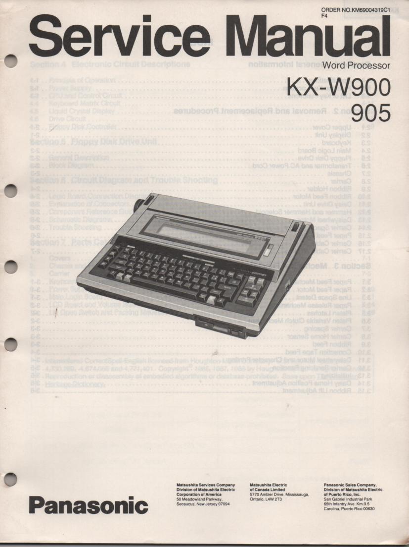 KXW900 KXW905 Word Processor Service Manual.
