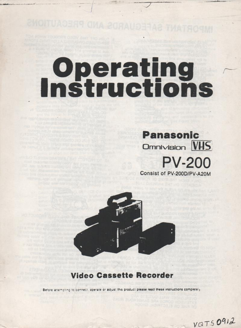 PV-200 Camcorder Owners Instruction Manual