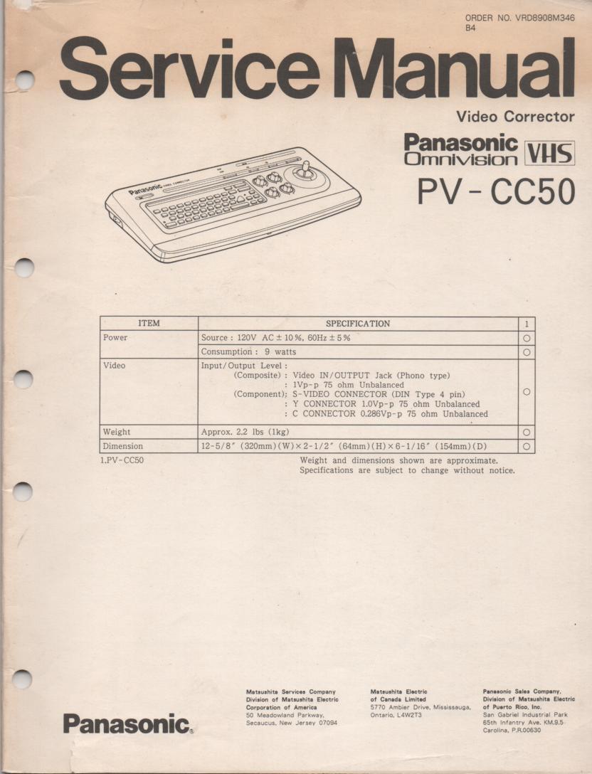 PV-CC50 Video Corrector Service Manual