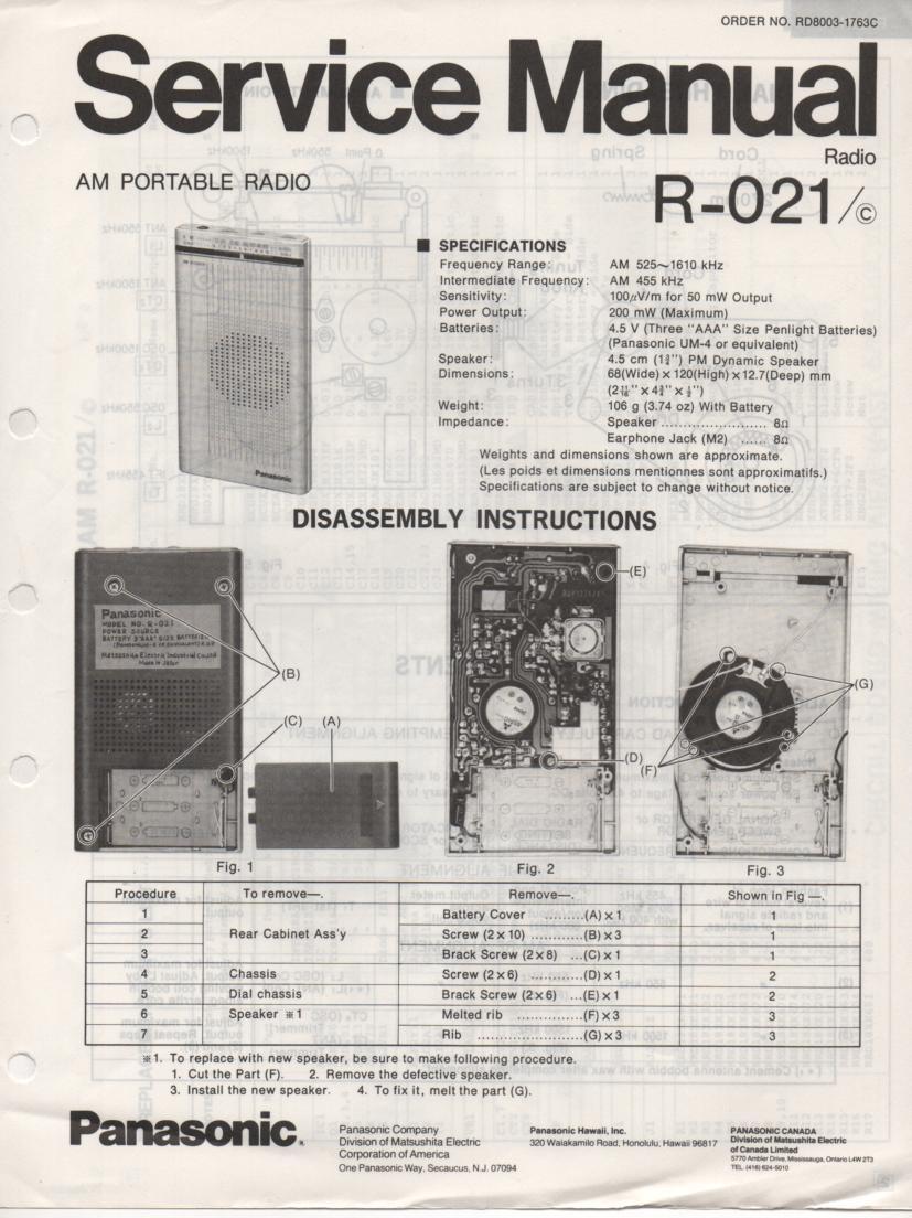 R-021 R-021C Radio Service Manual