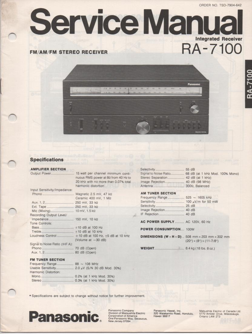 RA-7100 Receiver Service Manual
