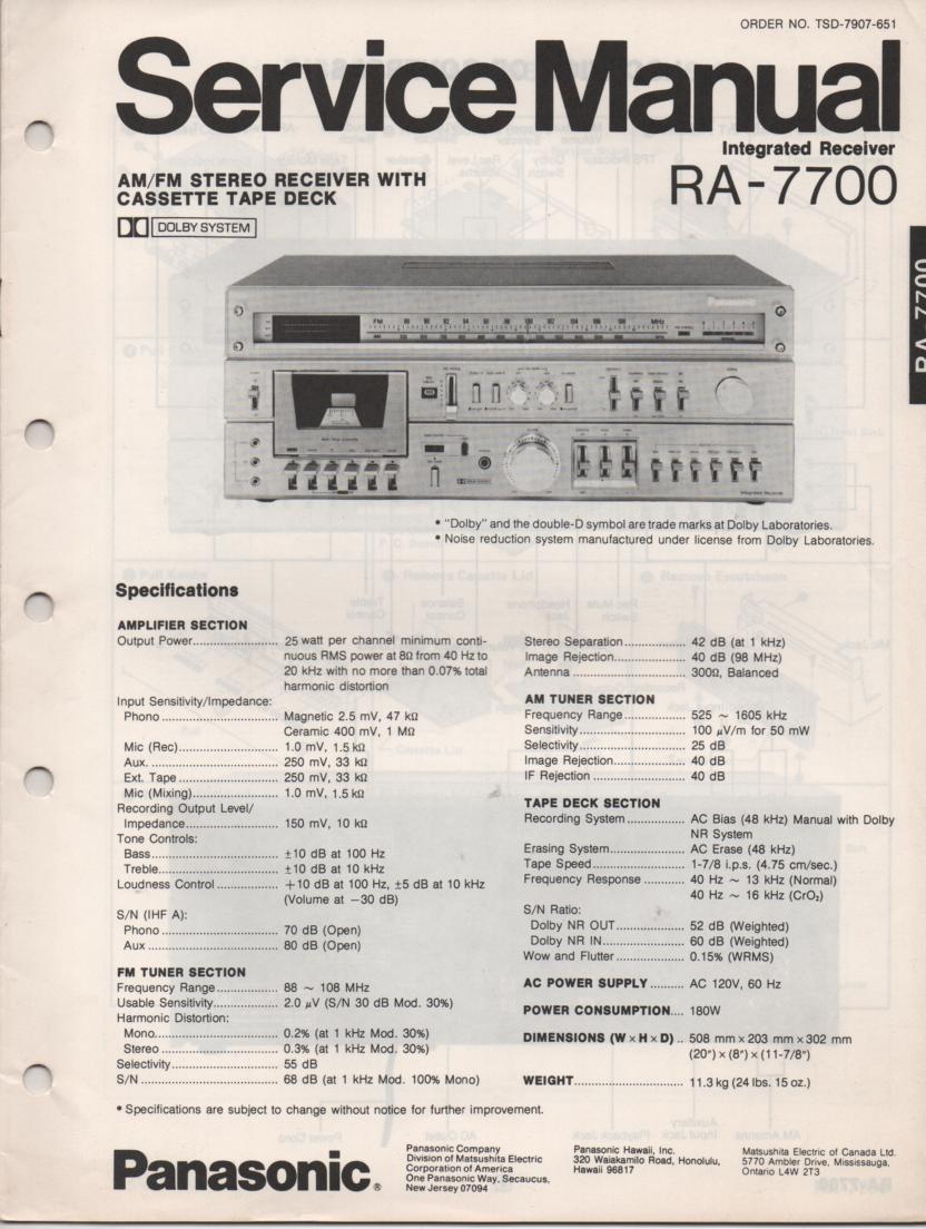 RA-7700 Receiver Service Manual