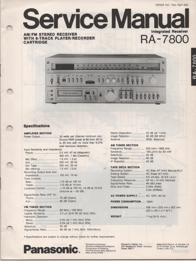 RA-7800 Receiver Service Manual