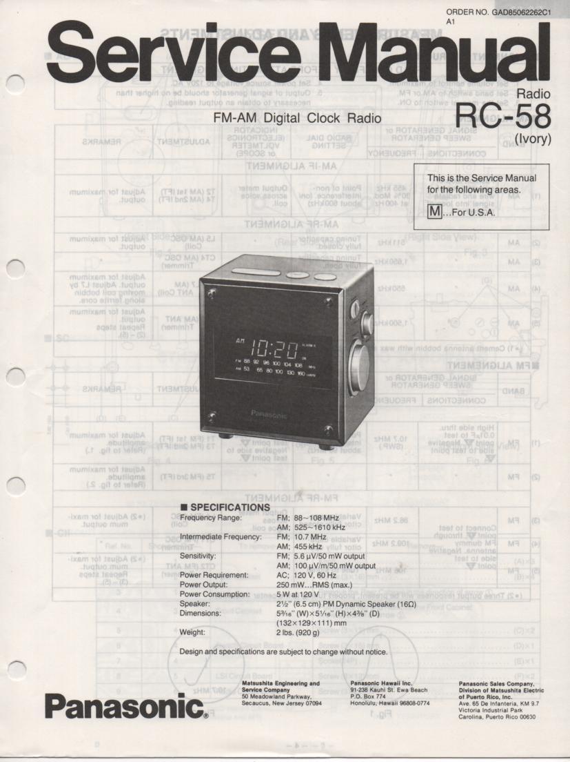 RC-58 RC-58M Digital Clock Radio Service Manual