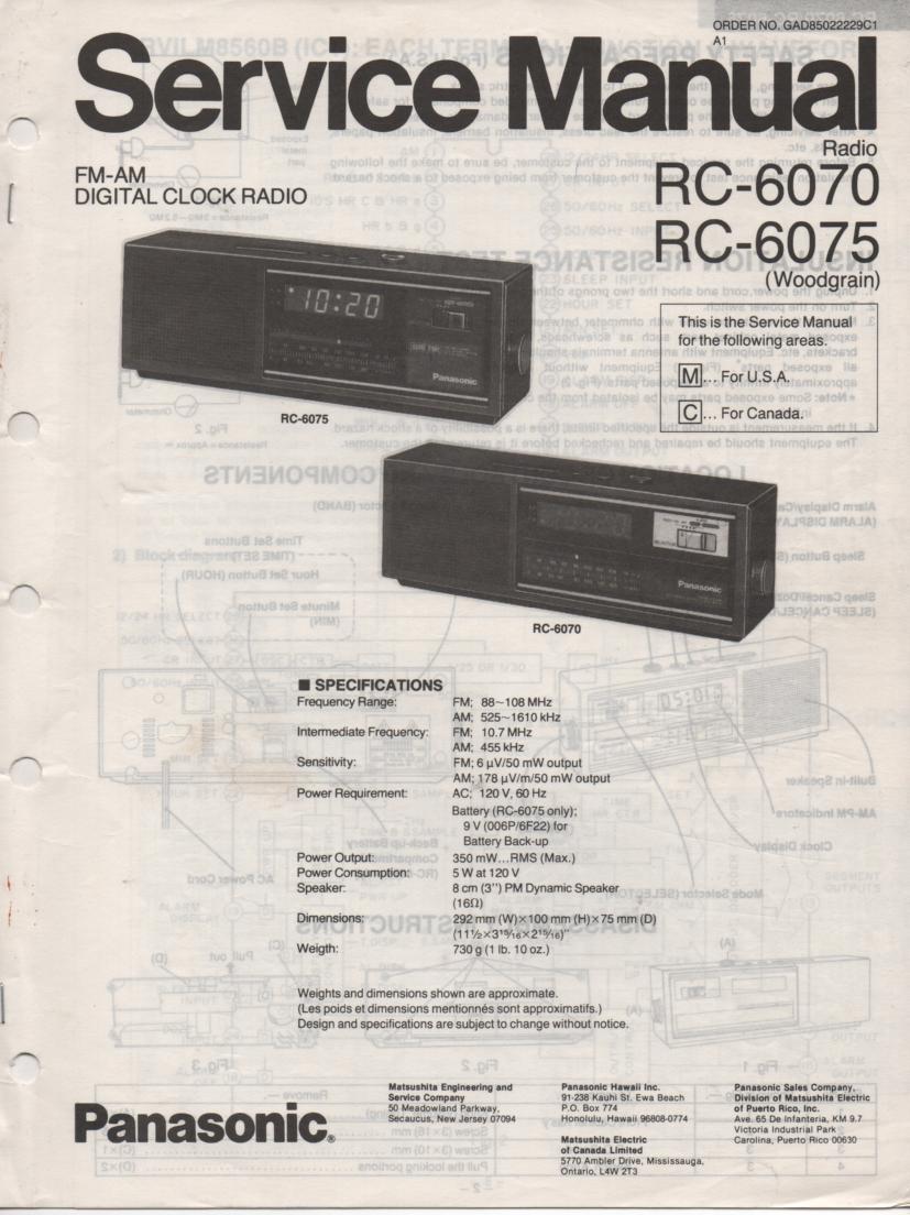 RC-6070C RC-6075C RC-6070M RC-6075M Digital Clock Radio Service Manual