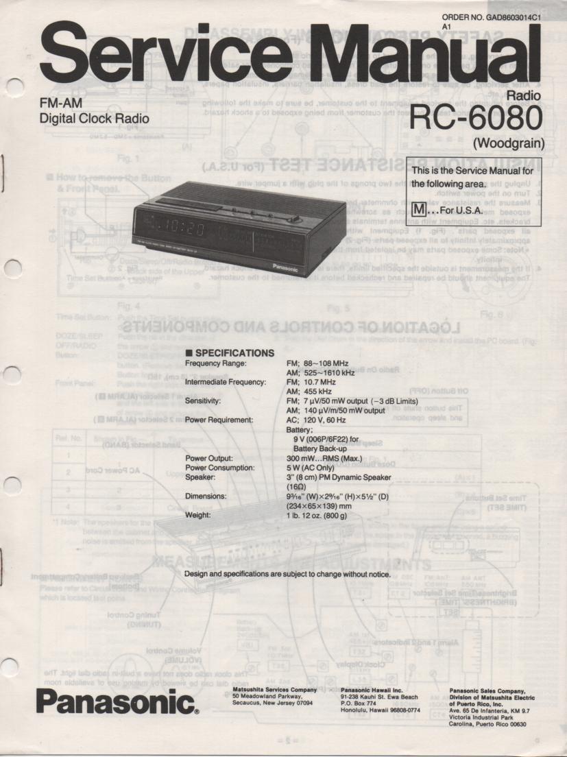 RC-6080M Digital Clock Radio Service Manual