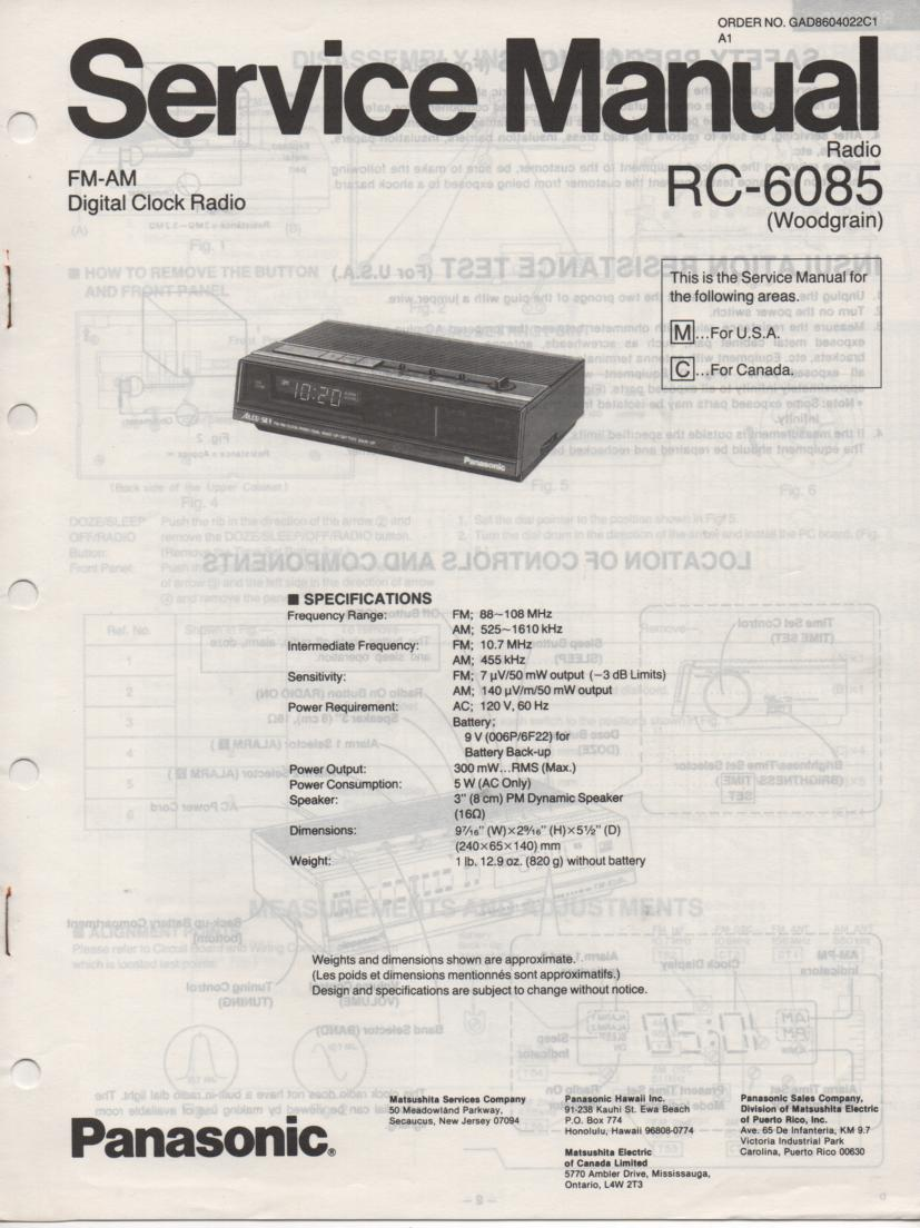 RC-6085C RC-6085M Digital Clock Radio Service Manual