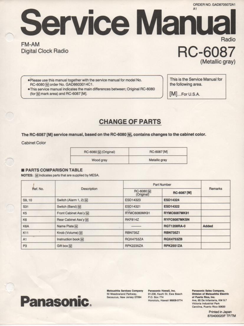 RC-6087M RC-6080M Digital Clock Radio Service Manual