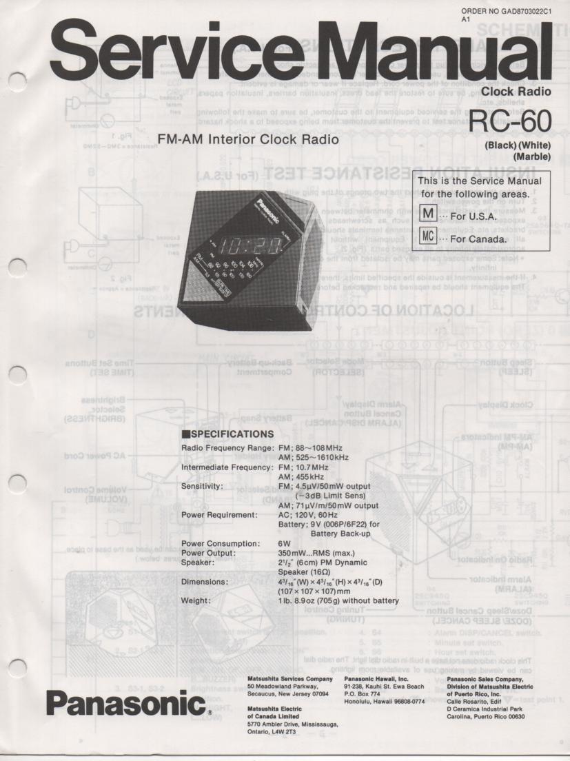 RC-60M RC-60MC Digital Clock Radio Service Manual