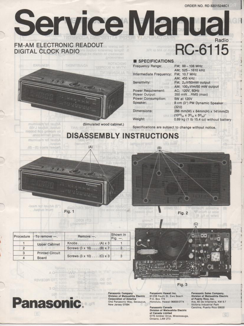 RC-6115 Digital Clock Radio Service Manual
