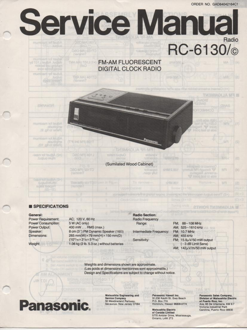 RC-6130 RC-6130C Digital Clock Radio Service Manual